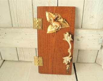 Wood fairy door upcycled vintage findings magic fantasy wall art