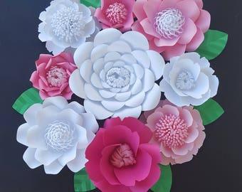 Large Pink Paper Flowers Set of 9 Large Paper Flower Photo Prop Backdrop Decor DIY Backdrop RTS