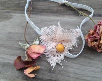 shabby boho chic child white vintage lace flower button rustic stylist headband hair