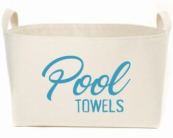 Pool Towels XL Canvas Storage Basket, Hand printed in Caribbean Blue