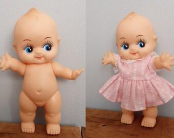 vintage Googly Eyed Baby Doll Rubber/vinyl jointed Kewpie Doll