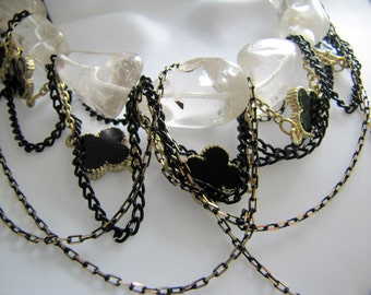 NECKLACE:  ..GOTHIC ELEGANCE..  Beautiful Natural Rock Crystal, Different Color Multi Chain Awesome Glamor Necklace cross black gold silver