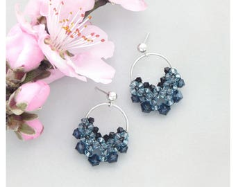 Teardrop Earrings / Hoop Drop Earrings / Blue Drop Earrings / Circle Drop Earrings / Swarovski Crystal Earrings / Beaded Earrings