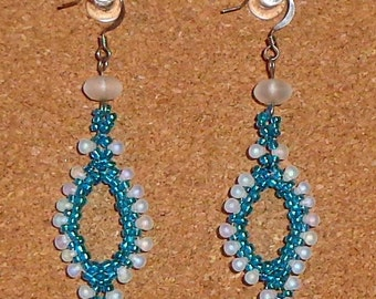 Beaded Paisley Earrings Green, Pink, or Blue