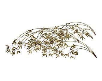 Vintage brass bamboo leaves wall sculpture by Curtis Jere Signed MCM Hollywood Regency