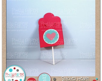 Stitched Heart Lollipop Holder Cutting Files - Instant Download