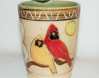 Stoneware Cardnal Bird Mug