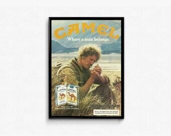 Vintage Camel Pack of Cigarettes • Prairie Plains • Wheat Tan Color • Lighting A Smoke • Calm Color Decor • Garage Interior Design For Him