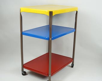 Captivating Upcycled Primary Colors Vintage Cosco Kitchen Cart / Rolling Bar Cart /  Vintage Bar Cart /