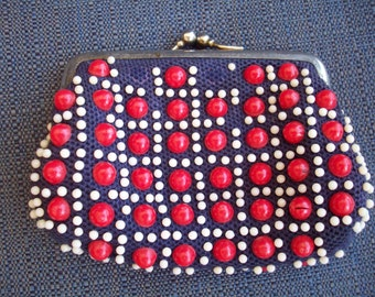BVintage eaded Red and Blue Small Coin/Change Purse