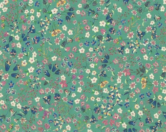 """Liberty Tana Lawn fabric DONNA LEIGH - 17"""" wide x 13"""" (43cm x 33cm) - new Classic 2017, green"""