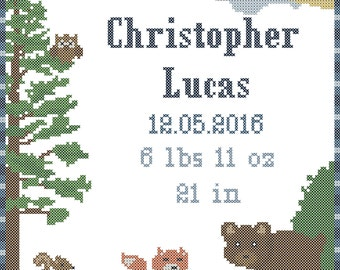 Modern Baby Cross Stitch Pattern/Modern Baby Boy Cross Stitch/Woodland Cross Stitch/Bear Cross Stitch/ Woodland Nursery Cross Stitch/PDF