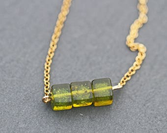 Green Amber Gold Plated Sterling Silver Necklace