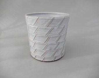 Ceramic Utensil Holder - White Pottery Utensil Crock