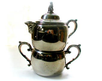 Vintage Stackable Silver Sugar Bowl and Creamer Set Wm A Rogers Silverplate Formal Entertaining Tea Service