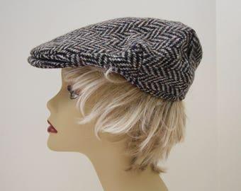 Vintage Black Grey Wool Tweed Newsboy Cap Hanna Hats Donegal Ireland Unisex