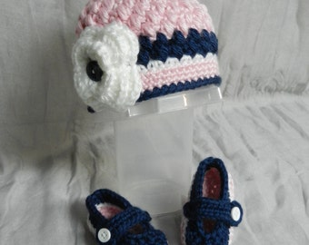 Ready to SHIP/Crocheted Hat and Mary Janes Set
