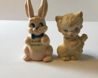 Vintage Bunny & Kitten Squeakers