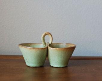 Vintage studio pottery green celadon glazes serving bowl earthenware coffee tea