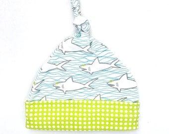Sharks and Waves Organic Cotton Baby Hat, Aqua Newborn Top Knot Hat, Ocean Theme Beanie, Baby Shower Gift, Beach Gift for Mom, Beach Boy