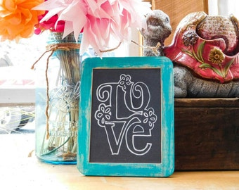 Love Bohemian Distressed Wood Turquoise Wedding Chalkboard Hanging Sign Yoga Boho Hippie Decoration