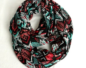 Tribal Print Infinity Scarf Soft Hatchi Sweater Knit Scarf in Black, Red, Turquoise Chevron, Stripe, Arrows - Standing Rock 100% Donation