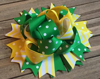 Funky green and yellow hair bow , 5 inch hair bow , over the top , birthday bow , hair bows for girls , green and yellow