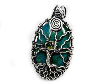 Tree of life pendant chrysocolla sterling silver natural gemstones