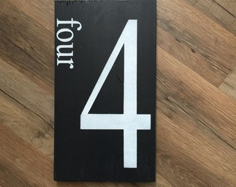 Number family sign-wall art-gallery wall-farmhouse rustic-wood sign-Number sign-Customized number sign