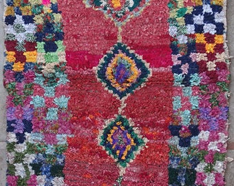 "170X130 cm 5'6"" x 4'3""         FREE SHIPPING worldwide  T32106 boucherouite , boucharouette,  moroccan rugs , berber rugs, morocco carpets"