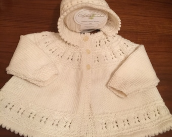 """Baby Matinee Jacket / Sweater and Bonnet - 1st Size in Creamy White Italian Merino  Size  16""""   Hand Knitted in Scotland"""