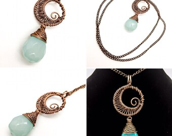 Wire Wrapped Copper Swirly Moon Necklace with Genuine Aqua Chalcedony Tear Drop