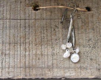 Recycled Sterling, moonstone and keshi pearl dangle earrings