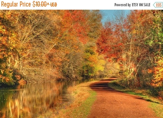 SALE 20% OFF Autumn Towpath and Canal Landscape Photograph Trees Fall Foliage Rust Color Photography Zen Nature Art Print  Bucks County Penn