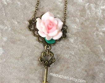 Steam punk vintage Polymer clay rose with dangle key bronze tone necklace