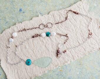 Aqua Sea Glass Necklace, Aqua, Sea Glass Necklace, Pearl Necklace, Copper Silver Chain