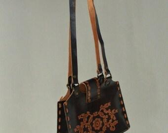 SALE Real Leather Mini Handbag Vintage 70's floral raw leather handbag