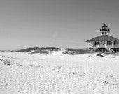 Lighthouse Photography Print 11x14 Fine Art Florida Gulf Coast White Sand Beach Southern Black and White Landscape Photography Print.