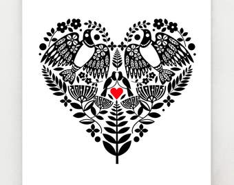 New Zealand Kereru, black and white heart with red, print