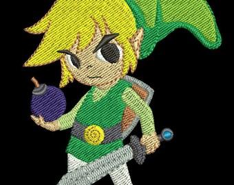Zelda Machine Embroidery Design - Toon Link with Bomb 4x4