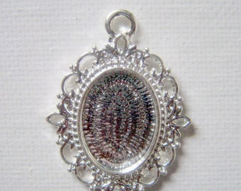 2 Cameo Frame Oval Silver Plated Settings, 27x31mm     (1004)