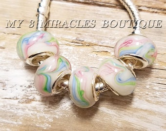 Pastels European Style Floral Murano Glass Beads Pink White Blue Green Swirl Bulk 5 10 20 Lot Charms Large Hole fits Bracelet Necklace DIY
