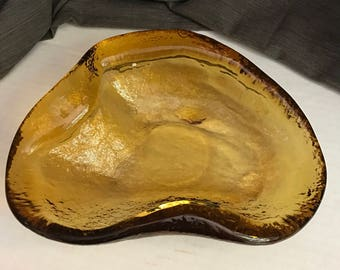 Vintage 60s Blenko Glass Free Form Design Bowl Mid Century Golden Yellow Blenko Ashtray