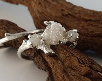 NEW!! Three Diamond Twig Engagement Ring, Raw Uncut White Diamond Branch Bridal Set, Custom Made-to-Order, Gold, Hand Sculpted