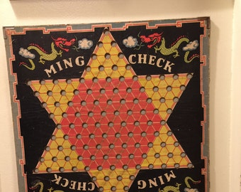 Vintage 1930's Ming Check Game Board to Display or Play. Colorful Accent Piece.