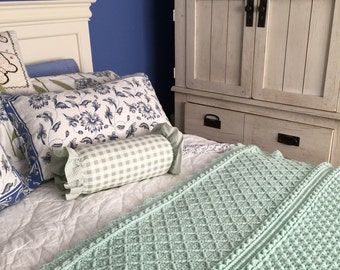 "Mint Green Reversible Throw for Your Country Chic Bedroom.Roomy 54""x70""."