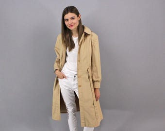 Khaki Trench Coat / Vintage 70s Trench Coat / Princess Trench Coat / Hoodie Trench Coat Δ fits sizes: M/L