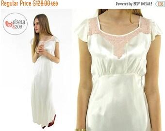 On Sale - Vintage 30s Silky Satin Lingerie / 30s Maxi Slip Dress / Satin Lace Lingerie Slip . xs sm