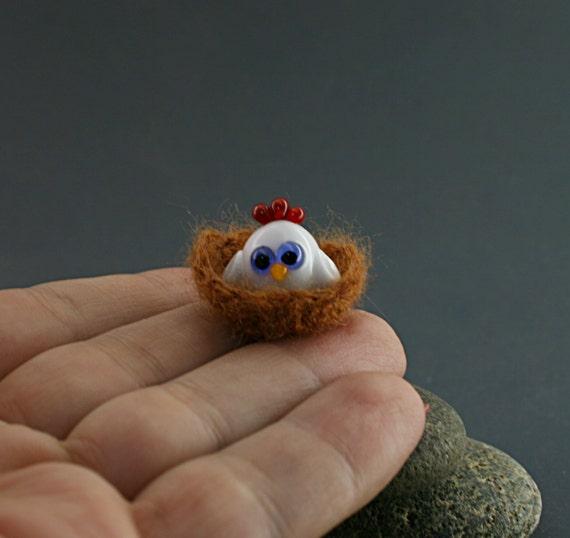 Hen Cockerel miniature sculpture figurine bead in crochet nest / fairy moss garden supply kit terrarium accessory glass lampwork tiny bird
