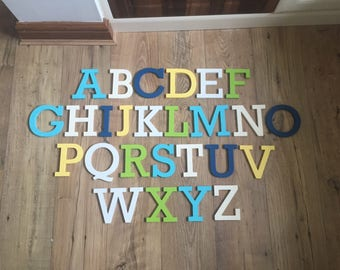 Full Wooden Alphabet - Hand Painted Wooden Letters Set - 26 letters - 10cm high, Rockwell